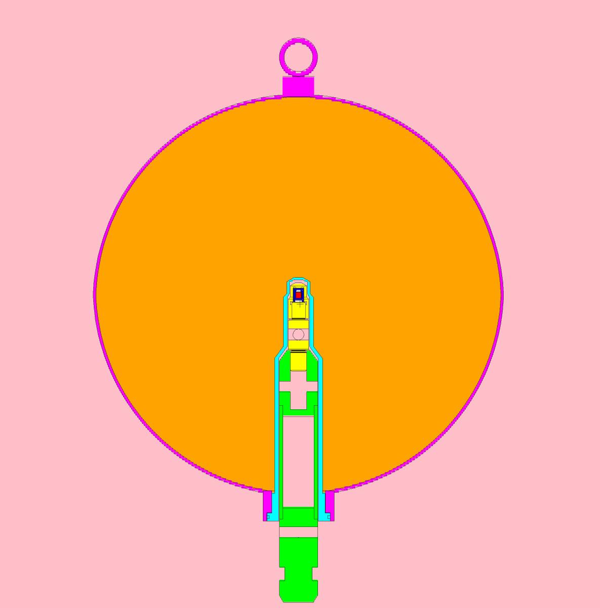 Esquema de la fuente de Cf inserta en la esfera de agua pesada con sus diferentes elementos.