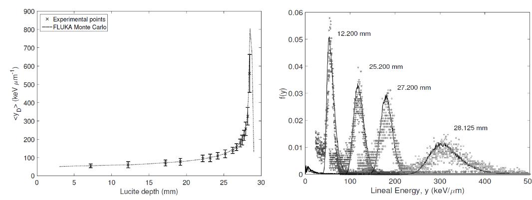 Figura 2. Energía lineal promediada en dosis en función de la profundidad de PMMA para un haz monoenergético de 115.2 AMeV (CNAO) (izq). Distribución de probabilidad para la energía lineal a diferente profundidad de PMMA (der).