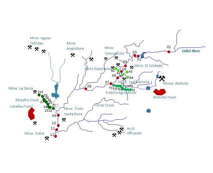 Mapa de la zona de recogida de muestras en el que se aprecia el río Odiel y los drenajes ácidos mineros que se han estudiado.