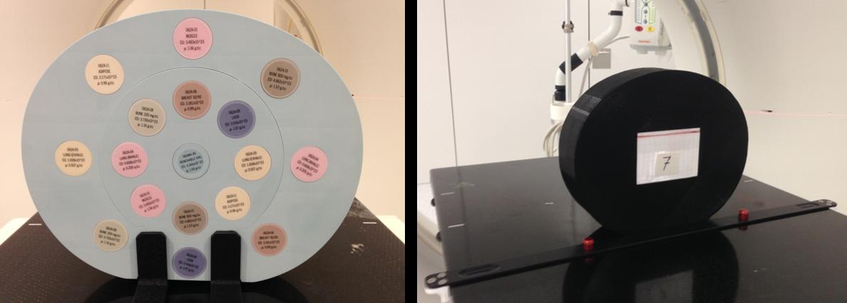 Figura 1. A. Maniquí empleado para la calibración estequiométrica en SPR. B. Maniquí casero relleno de agua (en color negro) y recipiente con la muestra biológica de interés (en color blanco).