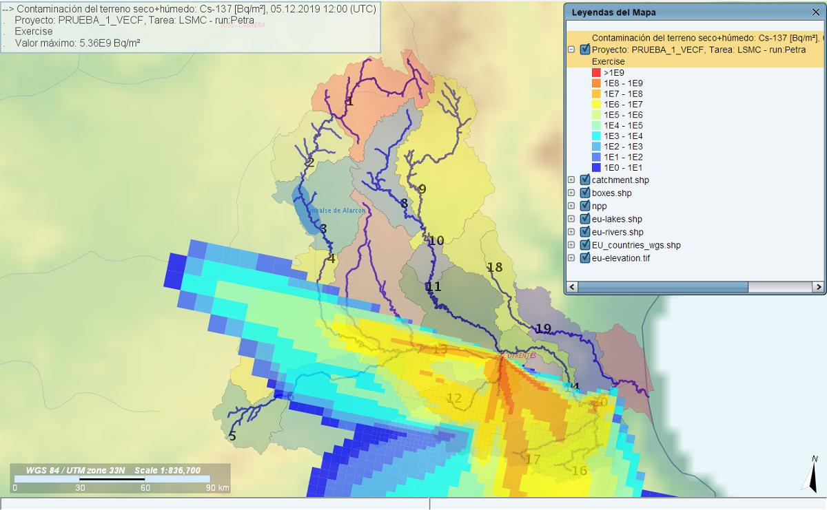 Ventana del sistema JRodos en la que se observa la cuenca del Júcar y la concentración de actividad de Cs-137 depositado en el suelo (Bq/m2) para uno de los escenarios analizados